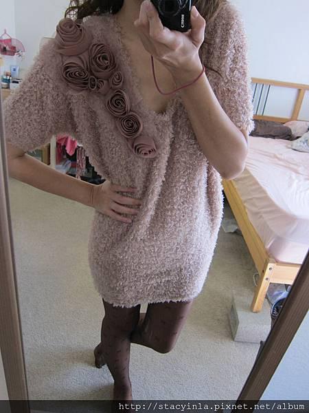 洋裝 33 捲捲毛 玫瑰花長上衣, $800 - 2