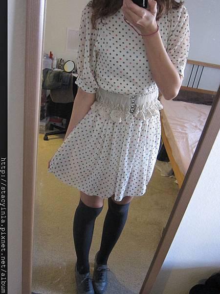 洋裝 16 韓牌 Pooky 白色圓點點雪紡洋裝, $800