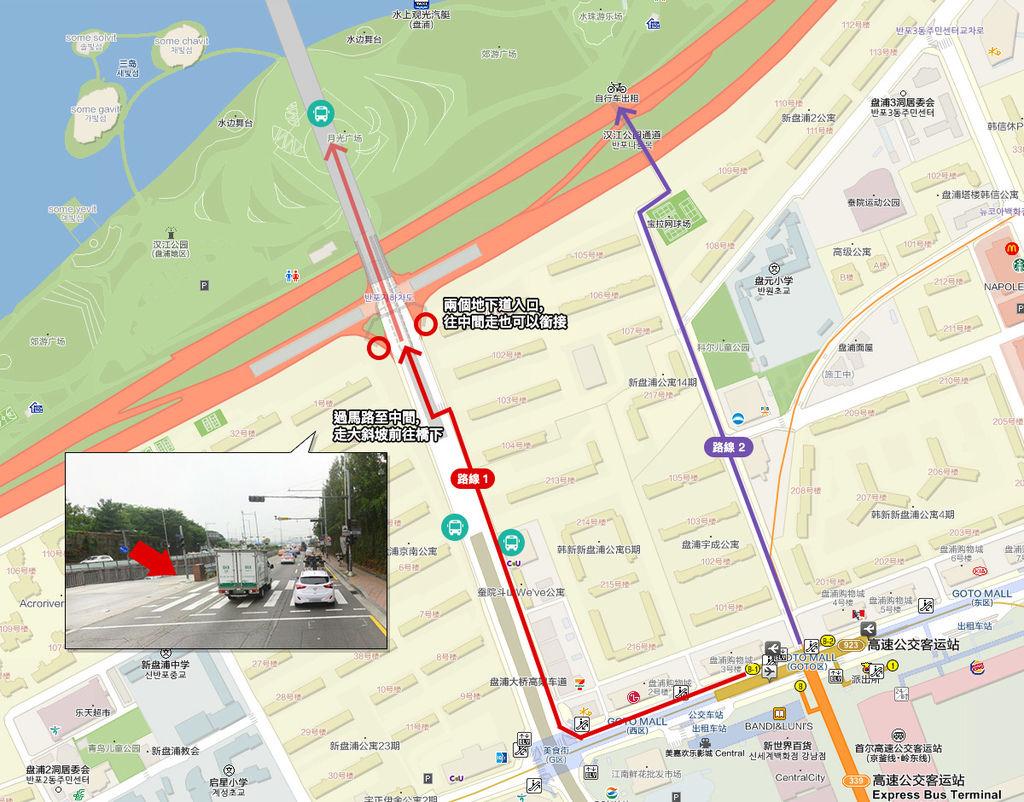 韓國首爾_漢江_盤浦大橋map