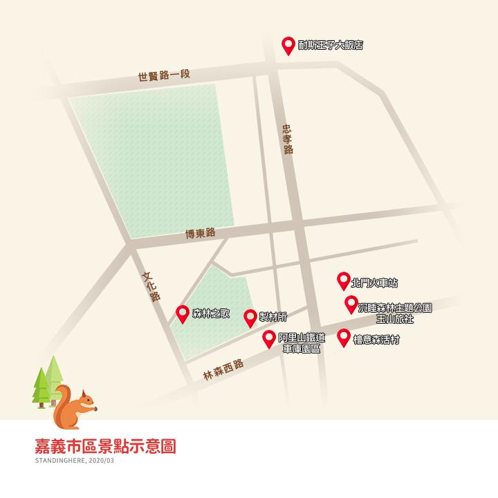 嘉義市區景點-景點地圖