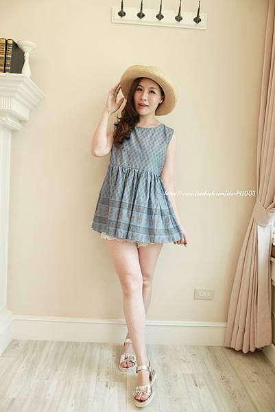 J11 浪漫異國風上衣(白、藍),NT$950