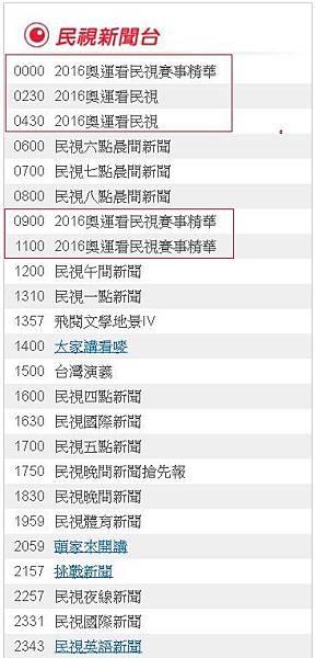 2016奧運直播轉播賽程民視8/8(一)節目表882