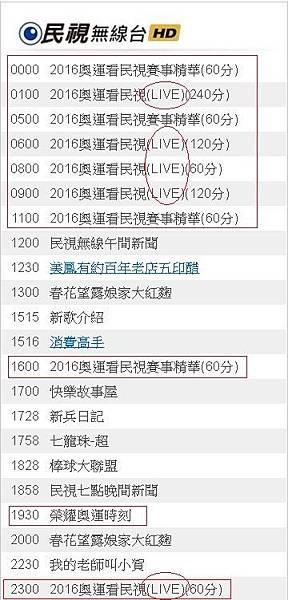 2016奧運直播轉播賽程民視8/8(一)節目表881