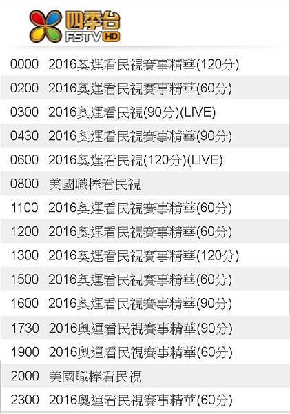 2016奧運看民視8/11(四)節目表直播轉播賽程民視四季台811