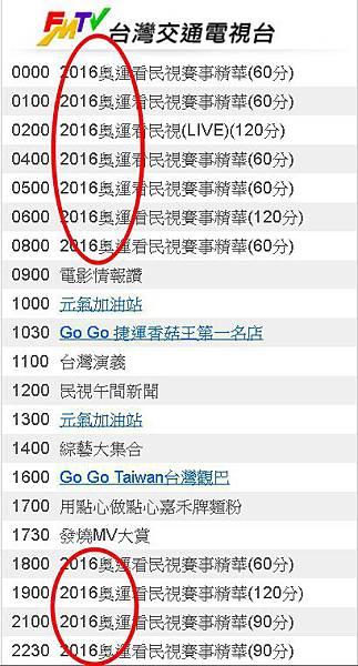 2016奧運看民視8/11(四)節目表直播轉播賽程台灣交通電視台811