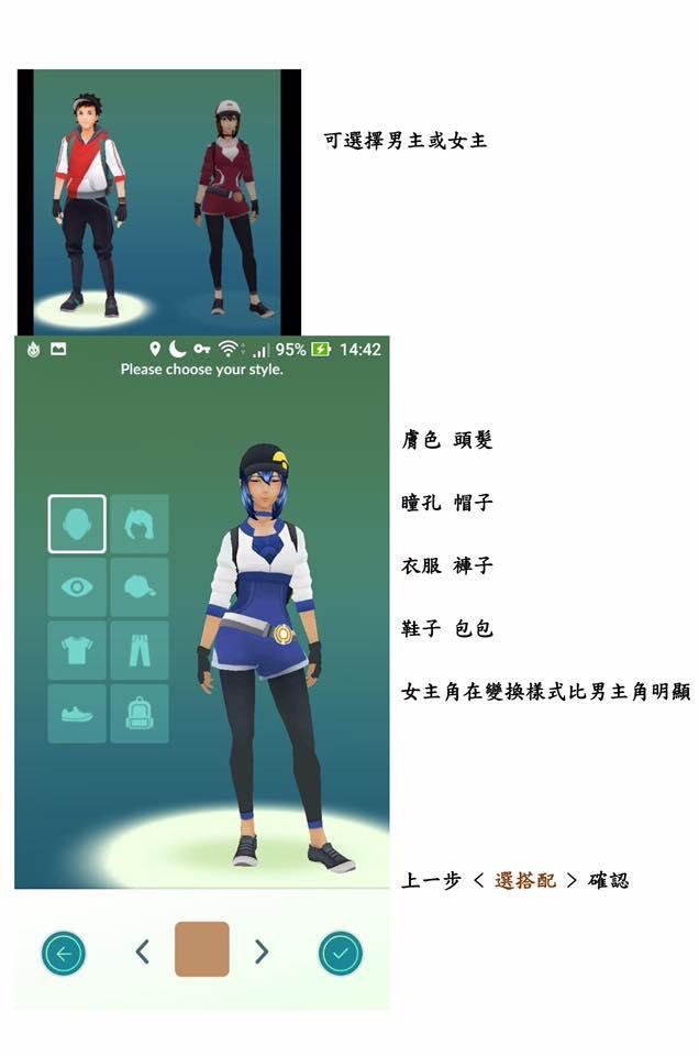 寶可夢玩家的選擇,分的很細  膚色 髮色  瞳色 帽子  衣服 褲子  鞋子 背包  還是以選擇 男生 或 女生