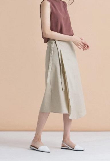 側綁帶一片式棉麻中裙