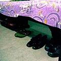 my luggage,my slipper,my kasut kelas and my boot