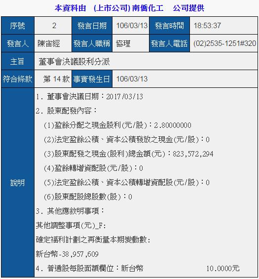 1702南僑_2017現金股息2.6元2017.03.13