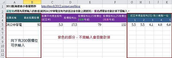 Excel自動計算股票股利評價法表格應用: 以近五年股票現金股利選出績優股的合理價操作