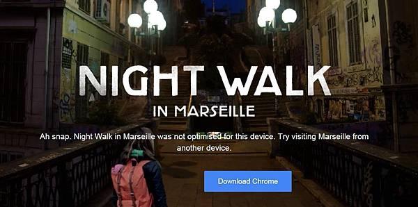 Google 谷歌 Night Walk in Marseille Experience 夜晚街景,漫步浪漫之都法國馬賽市街道夜景,創新旅遊廣告行銷 (虛擬實境,VR,更新,有趣,手機,Android,3D,APP)