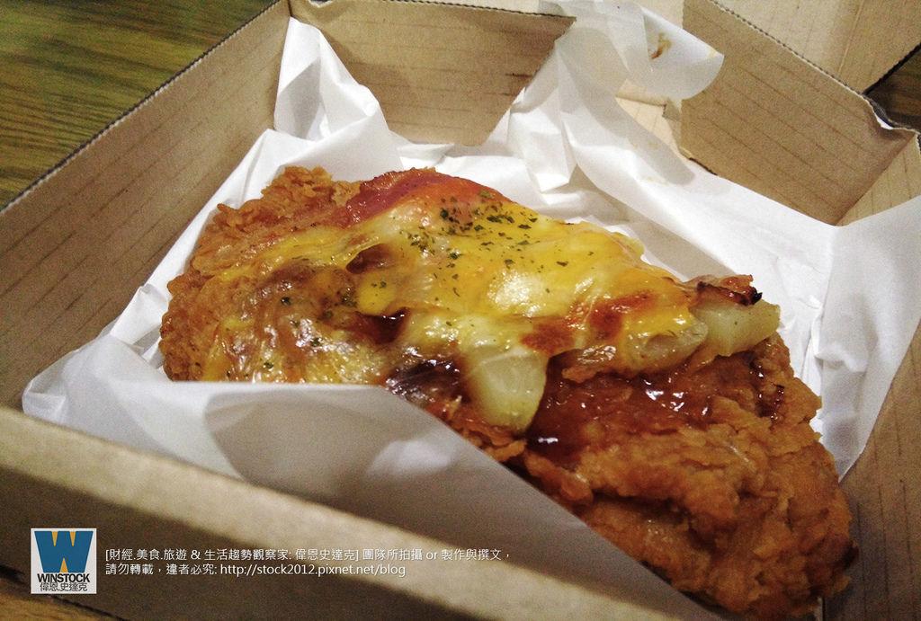 肯德基 KFC 披薩炸雞,披薩雞腿排,CHIZZA,體驗食記評價: 搭配網路訂餐優惠,送卡啦脆雞和勁爆雞米花大份 (外送,早餐,蛋塔,悠遊卡,24小時)4