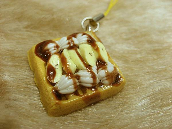 香蕉巧克力鬆餅_手機吊飾(方型)