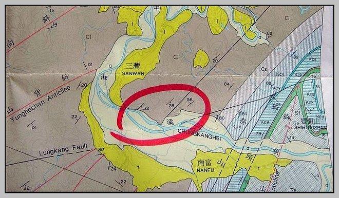 40.【苗栗地質圖】標示大象化石發現點的位置