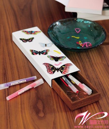 蝴蝶圖案文具收納盒
