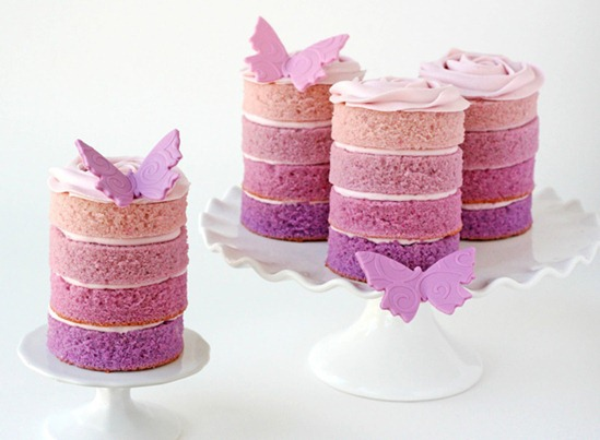 mini-cake-wedding-Purple Ombre butterfly-38a