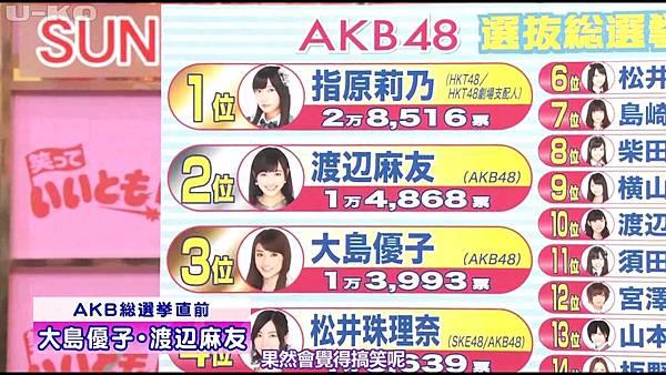 【U-ko字幕組】130607 AKB48 大島優子 渡辺麻友 笑っていいとも_20136812728