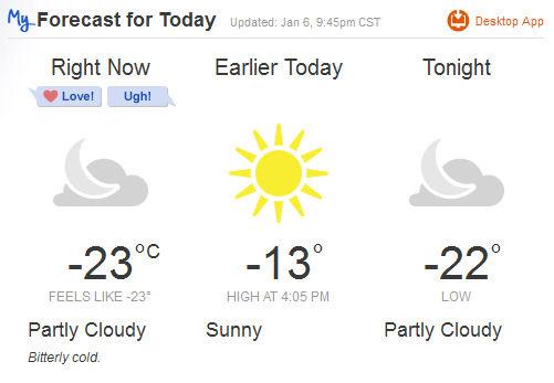 frigid temperature 2014