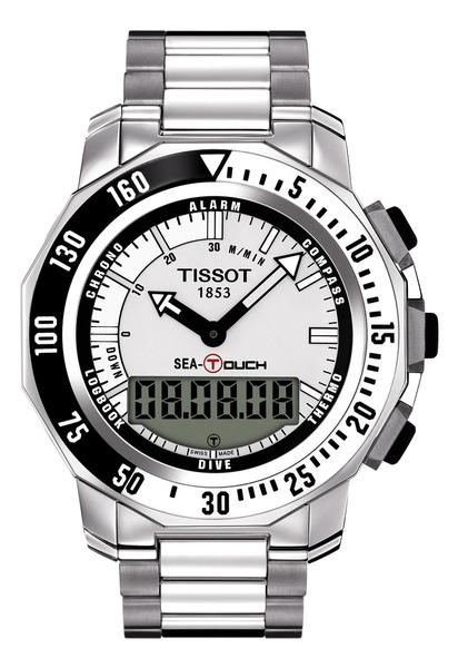 Sea-Touch天梭怒海潛將腕錶白色錶盤x黑白色錶框 搭配不銹鋼錶帶款.jpg