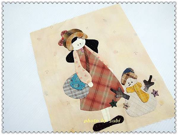 小女孩和雪人小壁飾 002