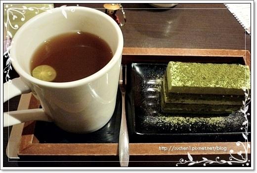 """我點的是""""熱水果茶+京都抹茶蛋糕"""""""