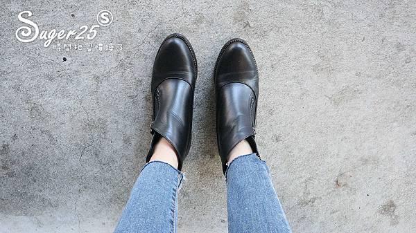 BESO V口真皮斜側拉鍊短靴穿搭開箱1.jpg
