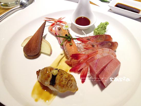 173鐵甲蝦、油魚子、鰹魚炙燒、甜蝦