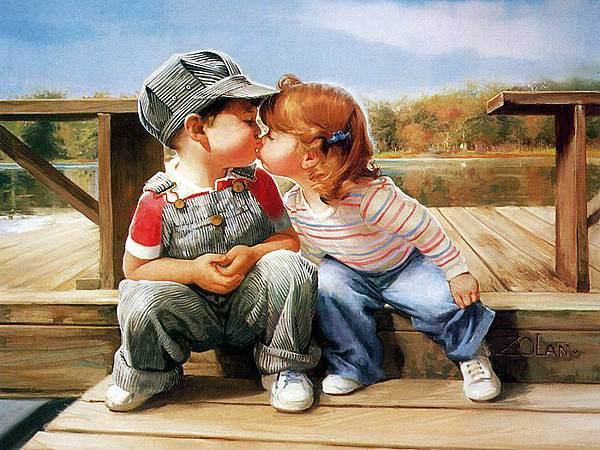 painting_children_kjb_DonaldZolan_57FirstKiss_sm
