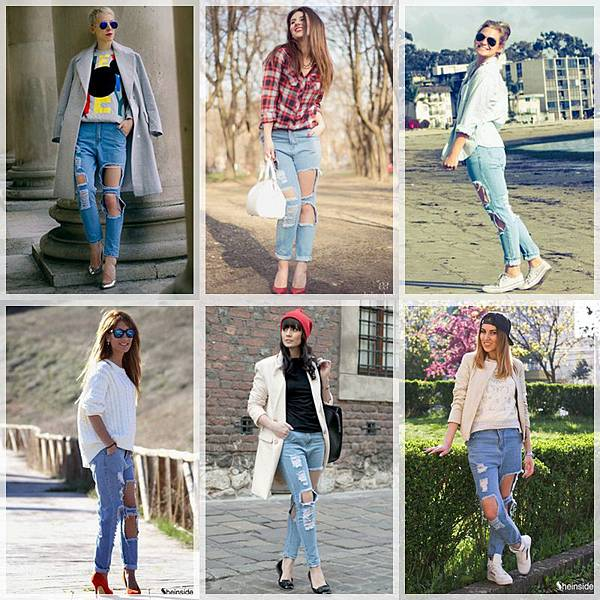 Sheinside Ripped Denim Jeans_