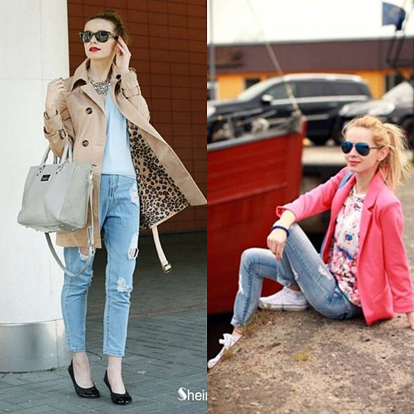 Sheinside style gallary with ripped jeans