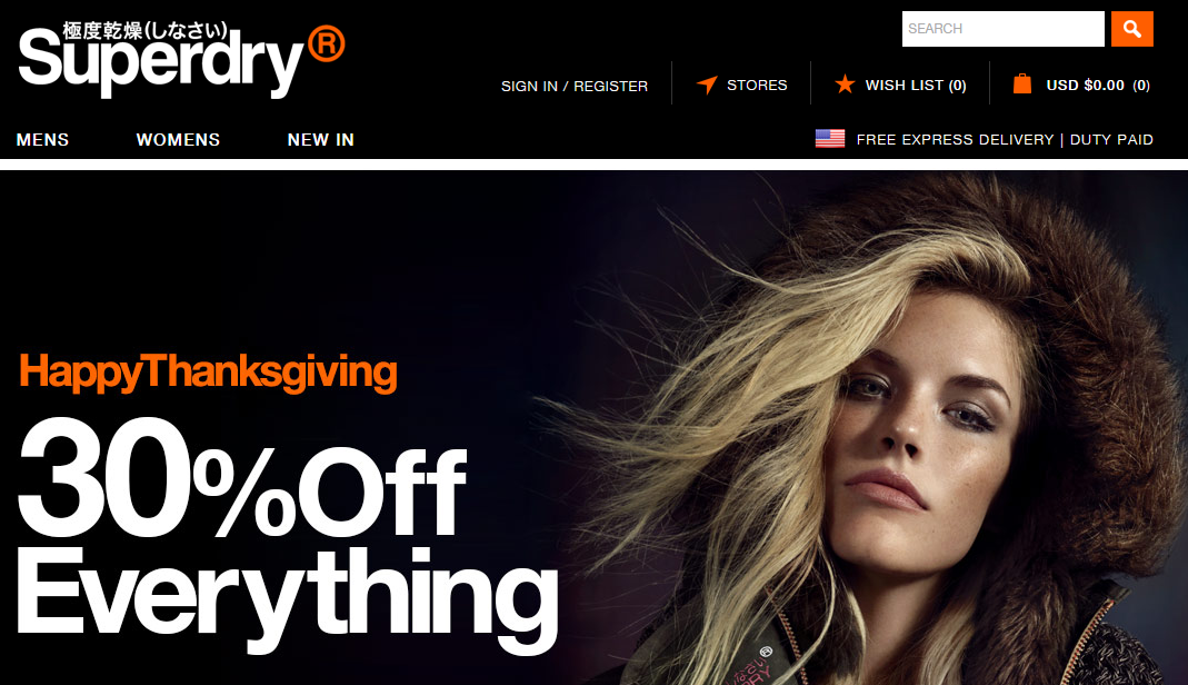 Superdry HappyThanksgiving 30% off Everything