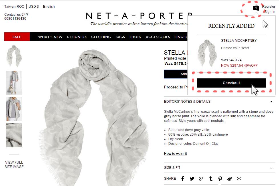 NET-A-PORTER購物教學3--Checkout結帳去