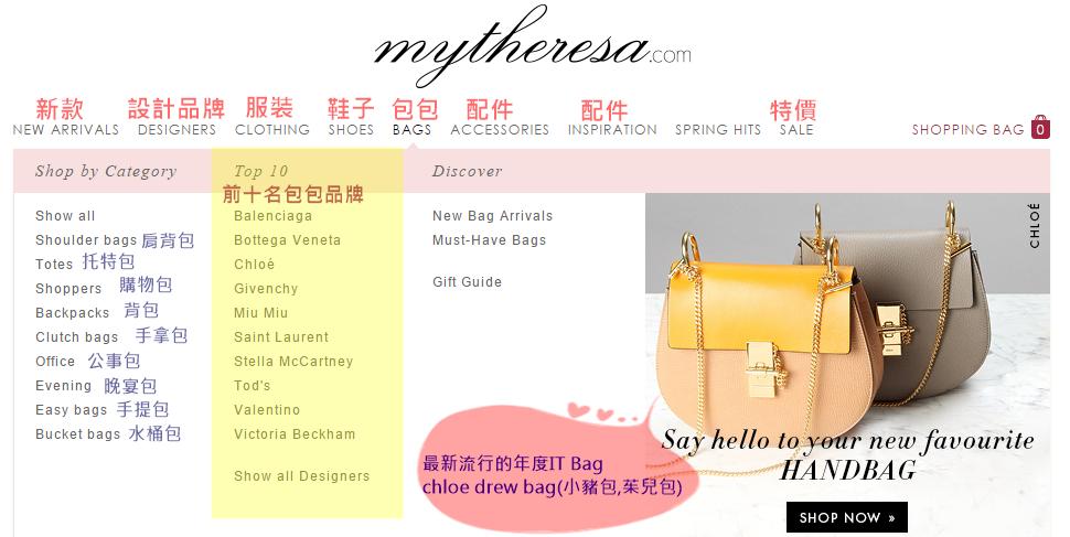 mytheresa前10大精品包包品牌