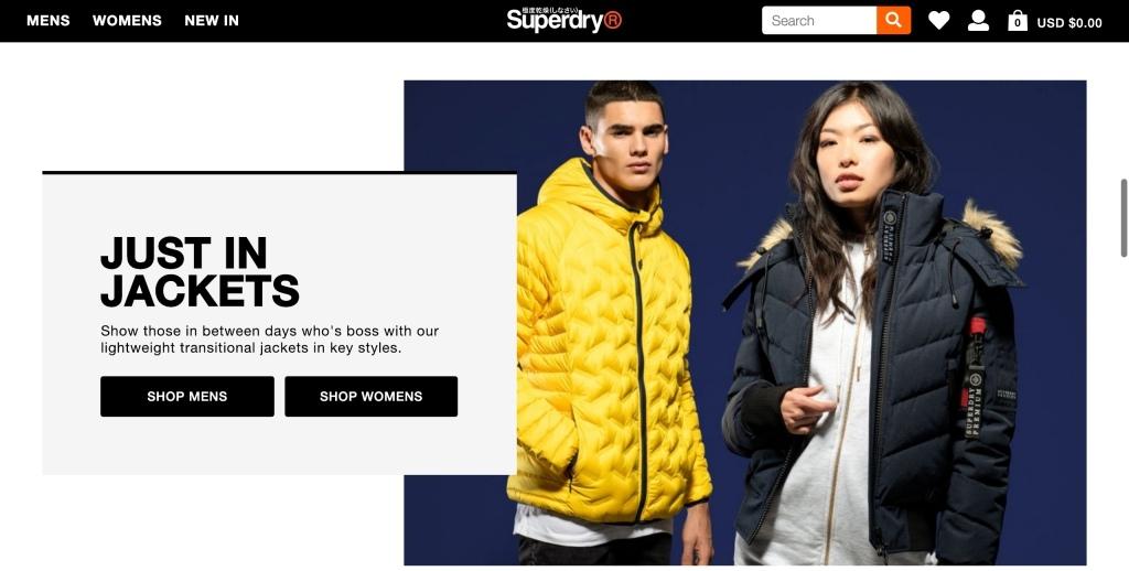 Superdry 極度乾燥美國官網頁面