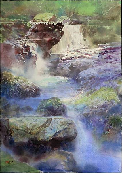 滿月圓溪瀑  2014  76x57cm