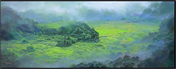08雲見綠竹子湖  57x146cm