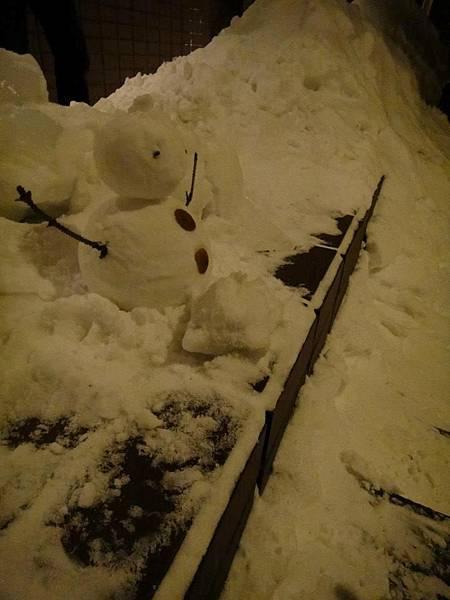 到處都是積雪 路邊的雪人
