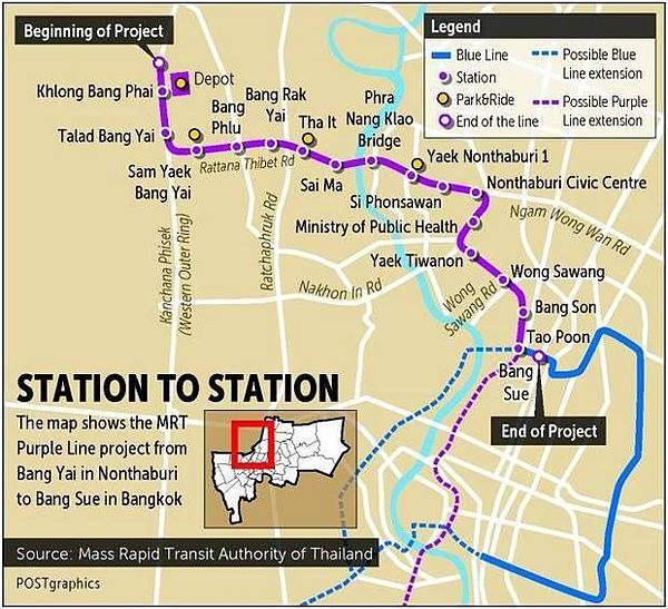 曼谷第4條捷運線「紫色線」可望在今年12月通車@ 曼谷包租公Andy王:: 痞客邦::