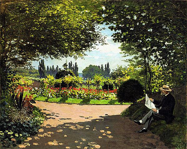 在庭院裡讀書的莫內1866.jpg