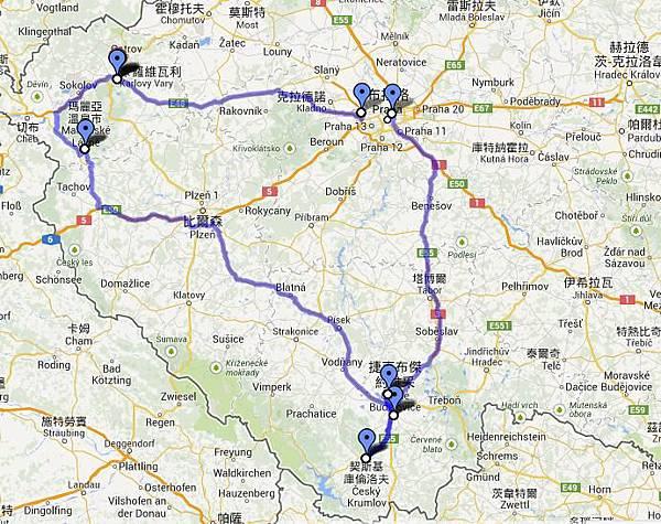 捷克開車地圖