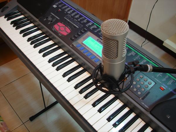 電子琴配麥克風側面照