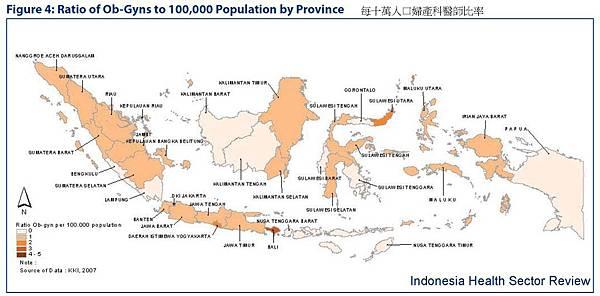 印尼每十萬人口婦產科醫師比率