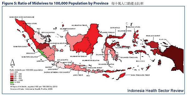 印尼每十萬人口助產士比率