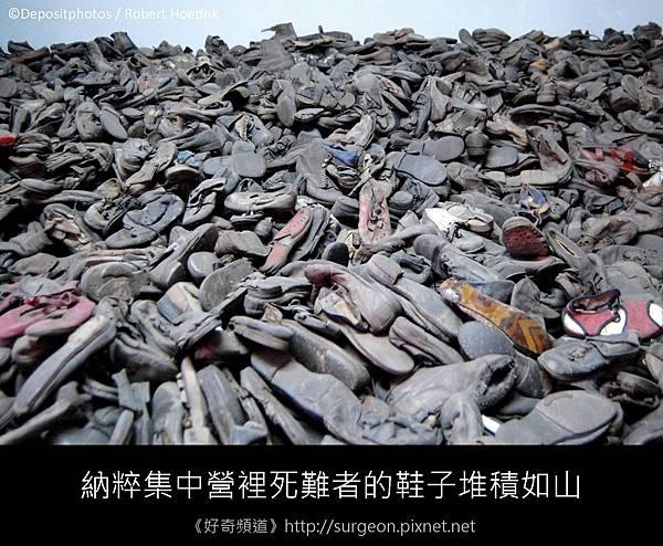 納粹集中營裡死難者的鞋子堆積如山