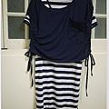 條紋兩件式外罩側綁帶長洋裝