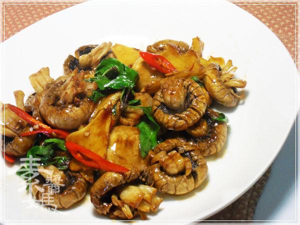 素食快炒料理-素炒螺肉(炒磨菇)11