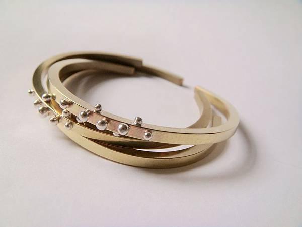 黃銅銀粒手環