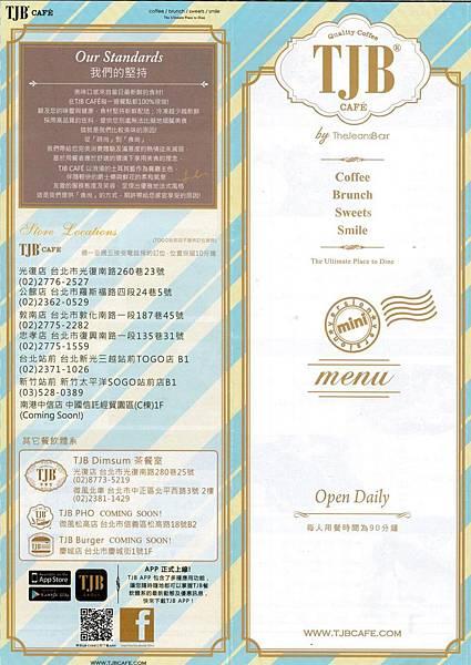 TJB Cafe' Menu