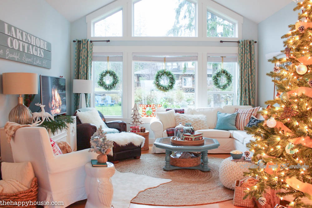 Lake-Cottage-Christmas-Decorating-in-our-Living-and-Dining-Room-at-thehappyhousie.com-Country-Living-Christmas-Home-Tour-2