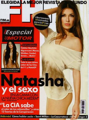 今年四月時,西班牙版「FHM男人幫」因為刊登娜塔莎亞羅文科系列的性感豔照而洛陽紙貴